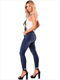 6055 women ripped hip strap with rolled edge jeans Dungarees