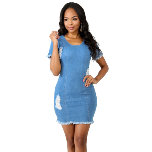 LY003 women ripped bodycon jeans dress