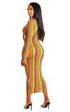 2381 women banding stripe print long dress