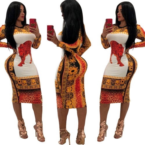 2357-7 women hot sell Multicolor printed dresses