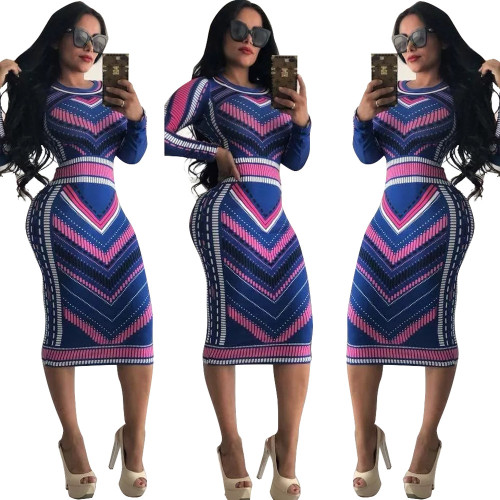 2357-4 women hot sell Multicolor printed dresses