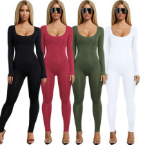 1117 women new one-piece pure color jumpsuit