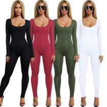 1117 women new one-piece pure color jumpsuit