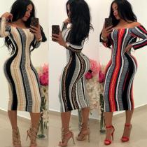 2361 Printed long-sleeved dress