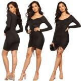 1001 women solid color bangdage dress