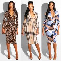 2351 women Printed zipper belt dress