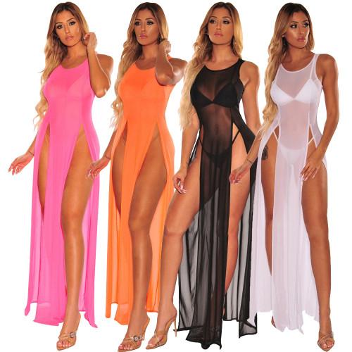 9240 women mesh see through beach dress