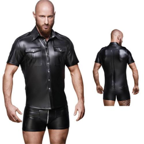 sexy men leather top N974