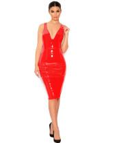 plus size women pvc leather dress 9007