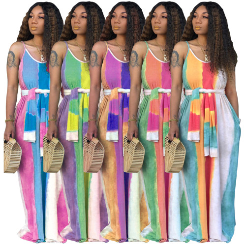 v-neck printing long maxi dress 9314
