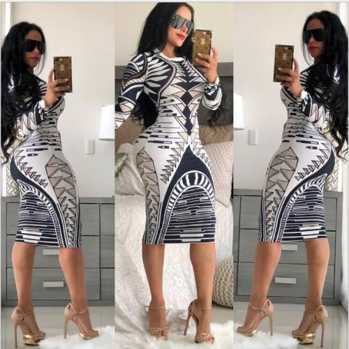 1874-4 sexy hot seller printed bodycon dress