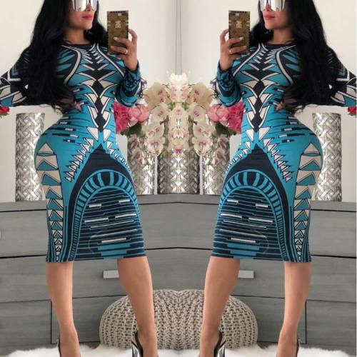 1874-5 sexy hot seller printed bodycon dress