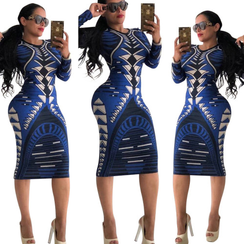 1874-3 sexy hot seller printed bodycon dress