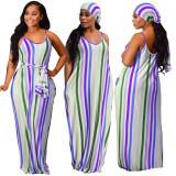 sexy v-neck maxi long strip dress 9362