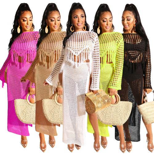 women hand knitted beach dress Z047