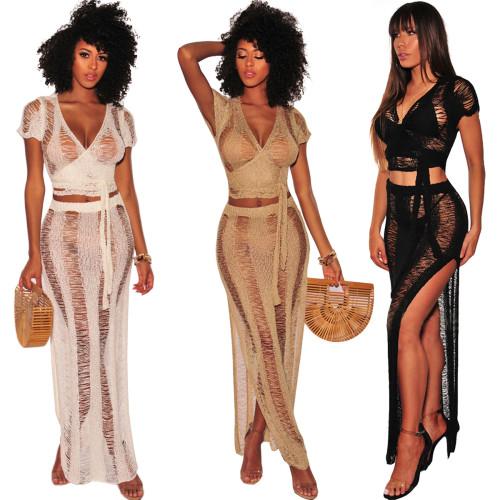 women hand knitted  2 pieces set beach dress Z019