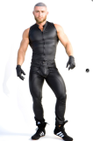 sexy men sleeveless  leather shirt N977