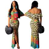 off shoulder printed long dress 9347