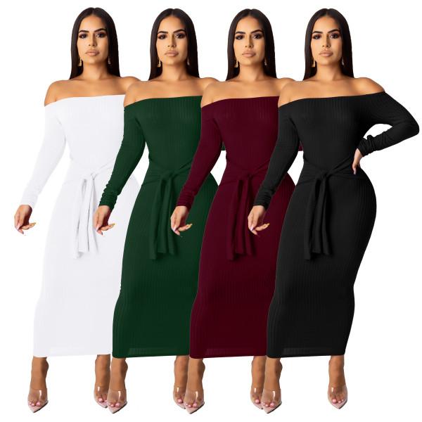 long sleeve off shoulder dress 9388