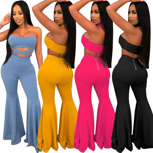 two-piece women's zipper  flare nightclub set 2457