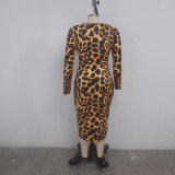 sexy leopard v-neck dress 9416