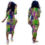 sexy long printed dress S3700
