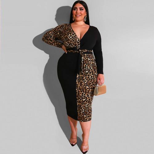 plus size v-neck leopard dress 19452