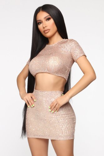 Sexy sequin 2 pieces skirt set N351