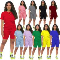 Plus size cotton summer short set 3998