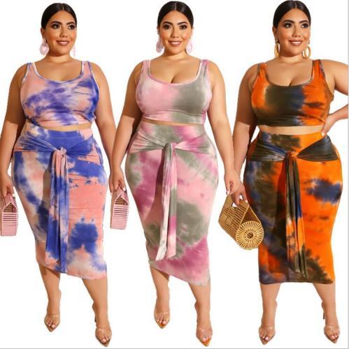plus size women two pcs skirt set 19260