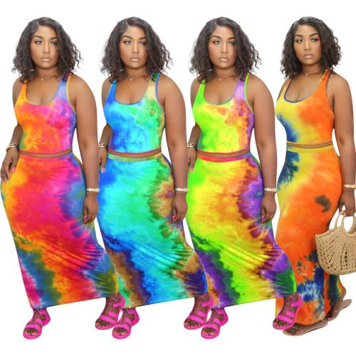 women two pcs tie dye skirt set