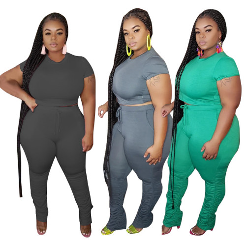plus size short two piece stacked pants set 20735