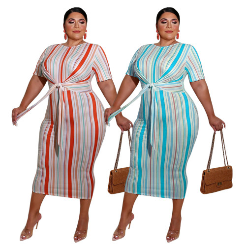 plus size women stripe dress 20780