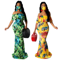 sexy off shoulder maxi dress with face mask 9660