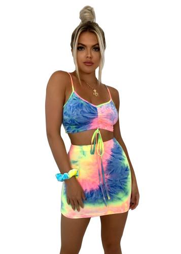 women two pcs tie dye skirt set 2549