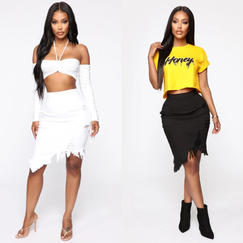 sexy ripped jeans skirt 9061