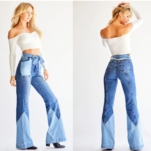 fashion patchwork pants 9062