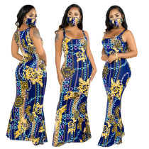 sexy maxi dress with face mask 9667