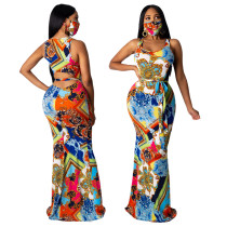sexy printing  maxi dress the face mask is included 9647