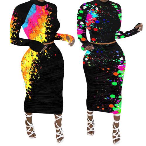 long sleeve printed women two piece skirt  set Q655