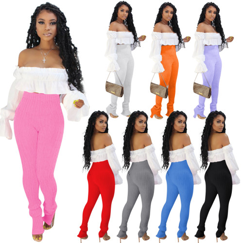 two pieces knitted pants set Q645