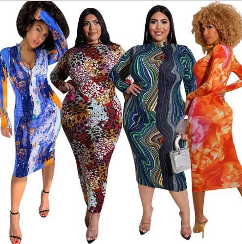 plus size fall long sleeve women dress  20860