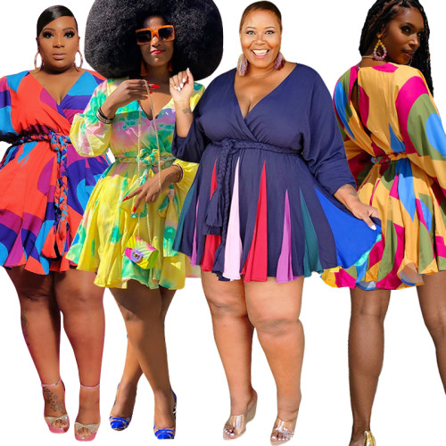plus size v-neck wome dress   20858