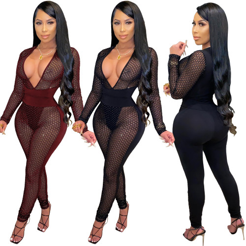 sexy see throught v-neck jumpsuit S3887