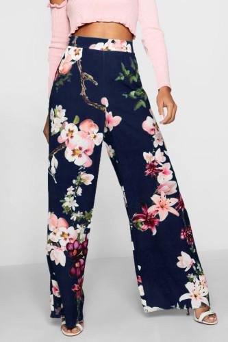 Ladies floral print flare leg pants LD8813
