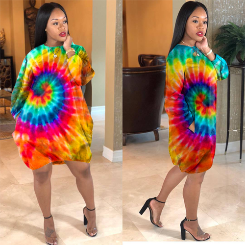 Tie dye women dress Ld8398