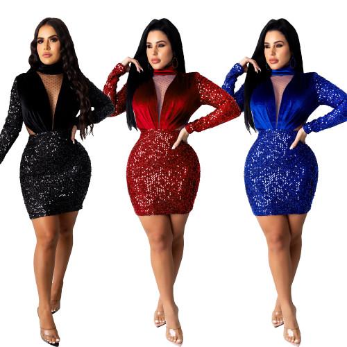 sexy long sleeve warm sequin dress CM802