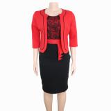 plus size women fashion dress with coat 98057