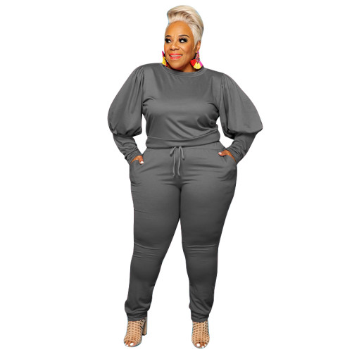 sexy long sleeve plus size two pcs pants set 21022