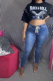 Ladies lace up jeans LD9048